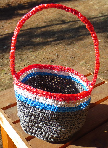 Red White & Blue Plarn Basket