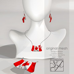 Snowpaws - Canadian Flag Earrings & Necklace Charm Set
