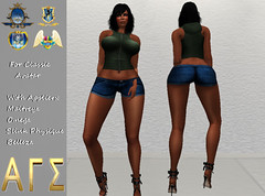 AGS INC. Womens Hoodie Tank and Shorts with Appliers