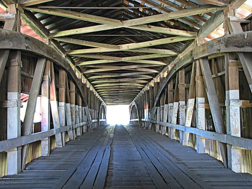 bridge interior indiana historic coveredbridge smalltown mansfield trusses