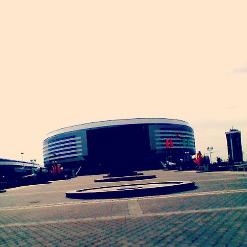 Минск-Арена рядом с велодромом и конькобежным стадионом