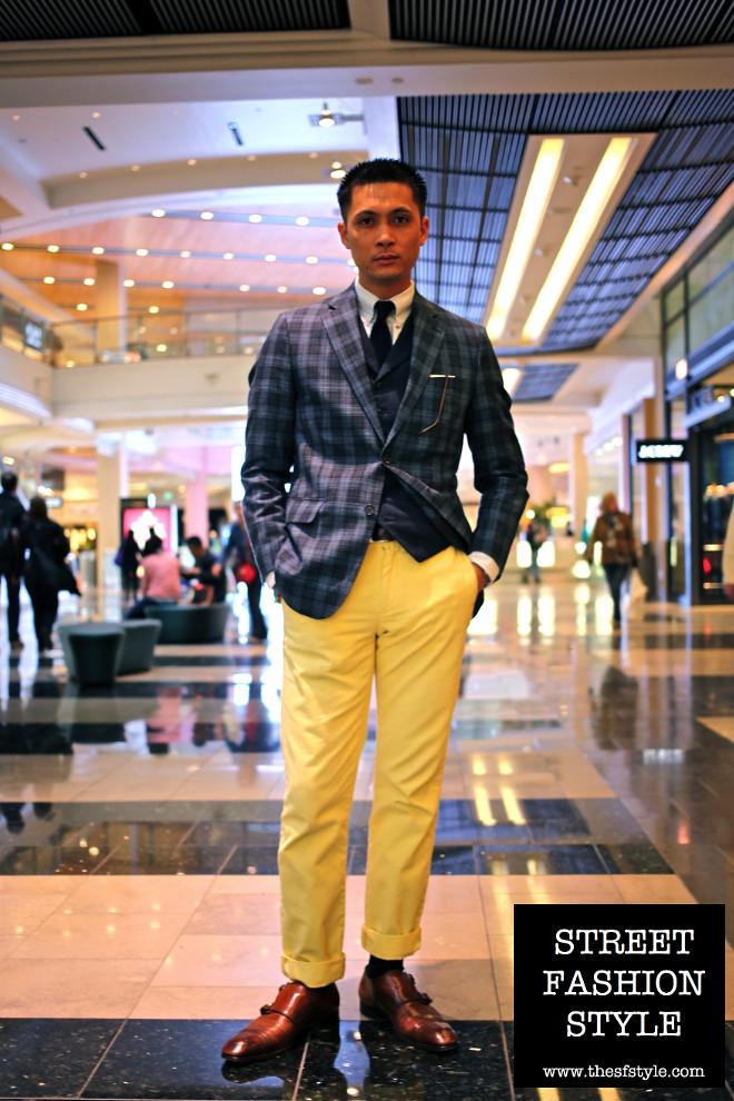 plaid jacket, vest, yellow trousers, yellow pants, monkstrap shoes, man morsel monday, san francisco fashion blog, thesfstyle, sfstyle, street fashion style,