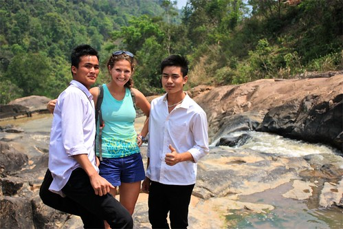 University students taking a lunch break at the waterfall. These 2 guys requested a photo first, so why not take one with my camera? :-)