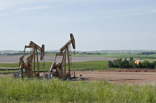 Bernice 1 and 2 wells with moisture flare - Evanson Place - Arnegard North Dakota - 2013-07-04