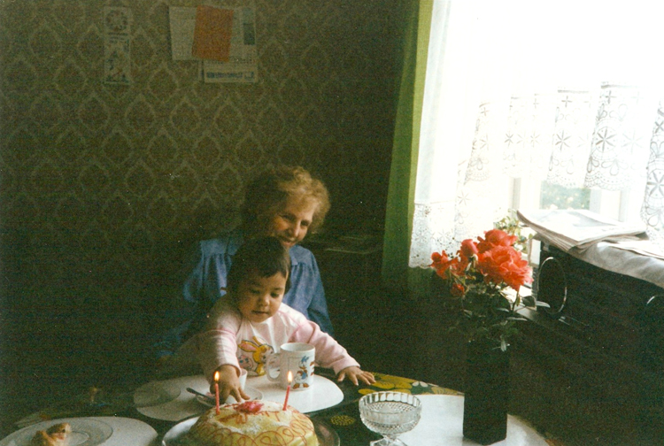 Grandma Signe and me, August 1987