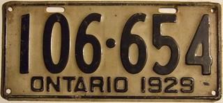 ONTARIO 1929 ---LONG SIX DIGIT LICENSE PLATE