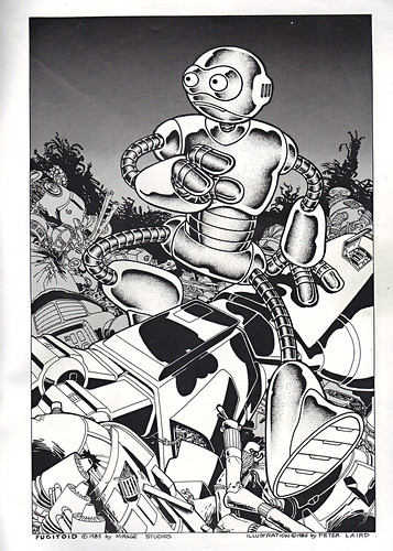 "The Original ""FUGITOID #1"" ix // 'Fugitoid On the Run' pin-up page by Laird (( 1985 ))"