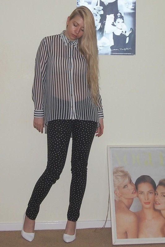 Sam Muses, UK Fashion Blog, London Style Blogger, DIY, D.I.Y, D.I.Y., Primark, Embellished Shirt Collar, Striped, Stripe, Stripes, Stripy, Boyfriend, Pearl, Pearls, Roses, Rose, Floral, Flowers, eBay, Ideas, Sheer, Pinstripe, Skinny Jeans, Polka Dot, White Shoes, Boohoo, Court