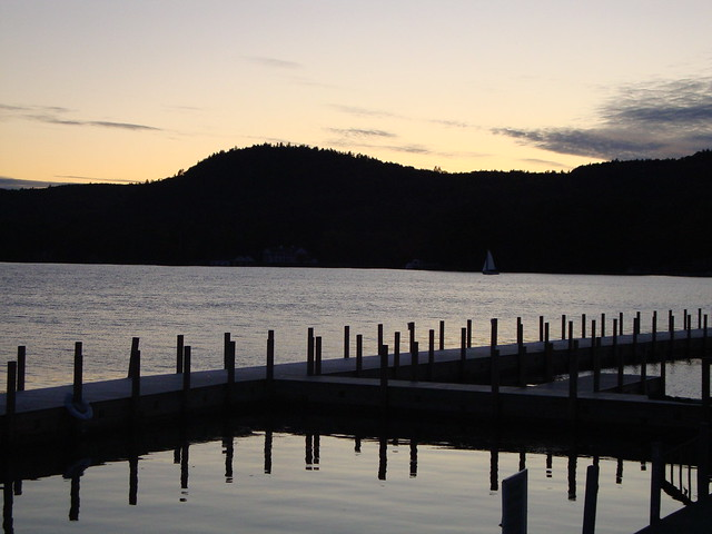Lake George sunset at docks