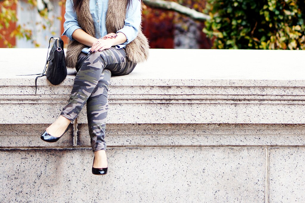 Petite Hues, Faux Fur Vest, Chambray Top, Express Camouflage Pants, J. Crew Janey Patent Flats, Rebecca Minkoff M.A.C.