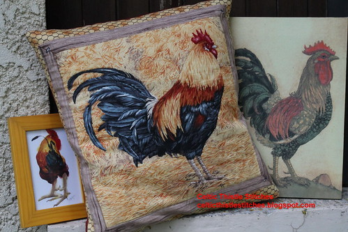 Rooster quilted cushion