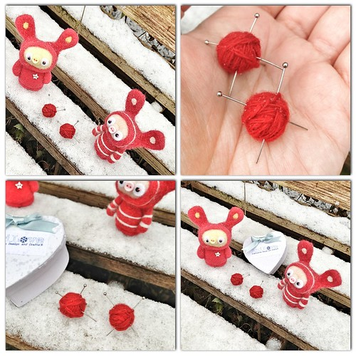 red yarn ball earrings