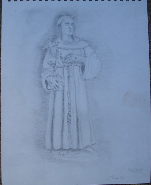 pencil drawing of St Fancis of Assisi from a Terracotta model in the V&A London