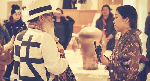 An artist Majiru and an Okinawa folk musician Kanako Horiuchi