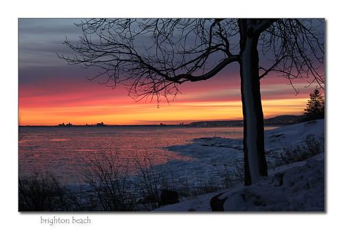 winter sunset water brightonbeach lakesuperior duluthminnesota kitchigammipark canonef18135mmis canoneos60d