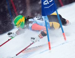 Braydon Luscombe flies around a gate during the Super-G in Panorama, CAN
