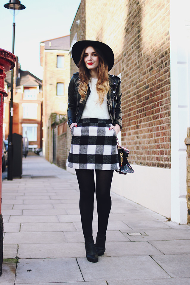 Topshop Gingham Check Skirt Outfit Fluffy Jumper Fedora