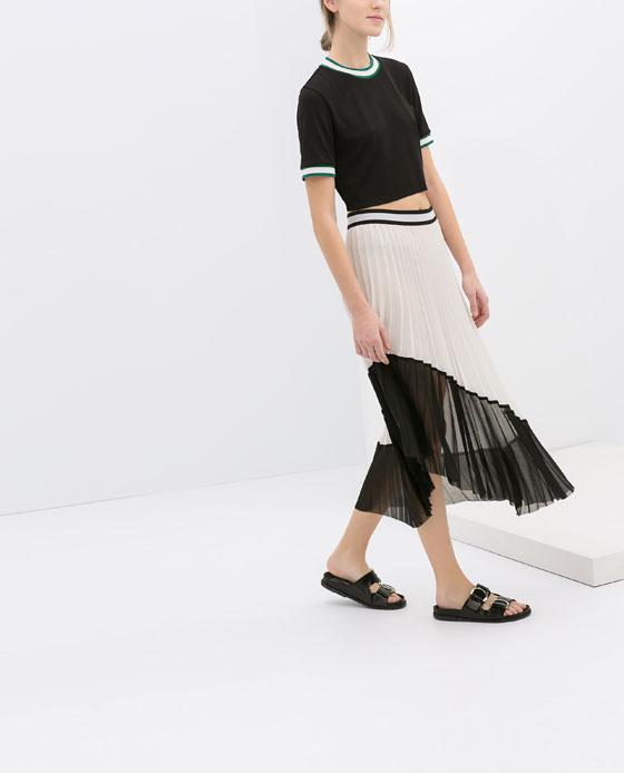 falda plisada bicolor zara