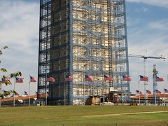 Base of the Washington Monument in scaffolding, viewed from the southwest