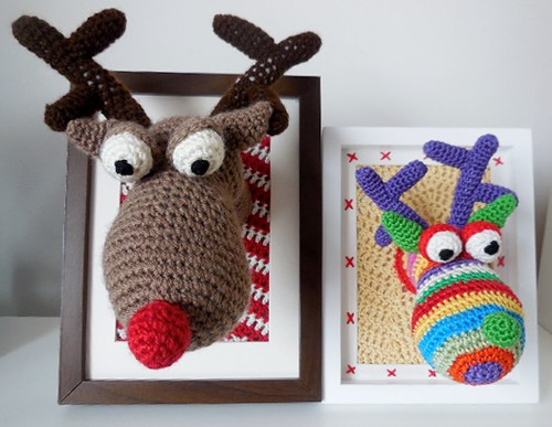 Stag/reindeer head crochet pattern available fromhttps://www.etsy.com/uk/listing/181465648/stages-head-reindeer-head-crochet