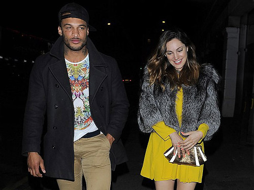 Kelly Brook in Zara long sleeve dress & David in Chinos & printed t-shirt