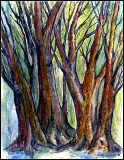 TEXTURED TREES...MIXED MEDIA