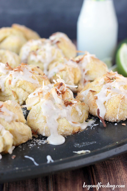 Coconut Key Lime Monkey Bread | beyondfrosting.com | #keylime