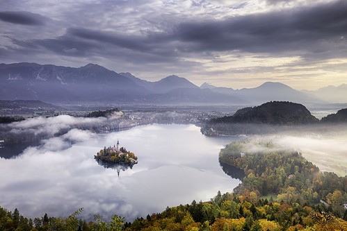 morning mist lake mountains alps landscape slovenia bled lakebled julianalps