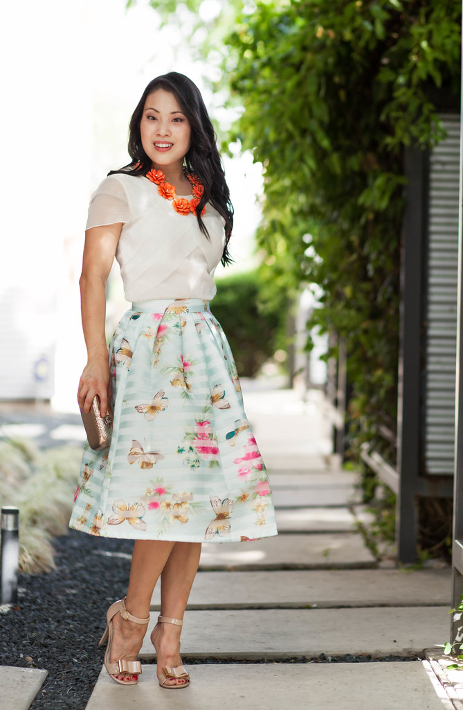 cute & little blog | spring floral midi outfit | chicwish butterfly flower full midi skirt, orange flower bib neklace, nude bow strappy sandals