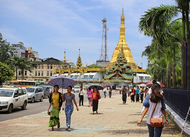 2,500 years old Sule Pagoda located in the heart of downtown Yangon