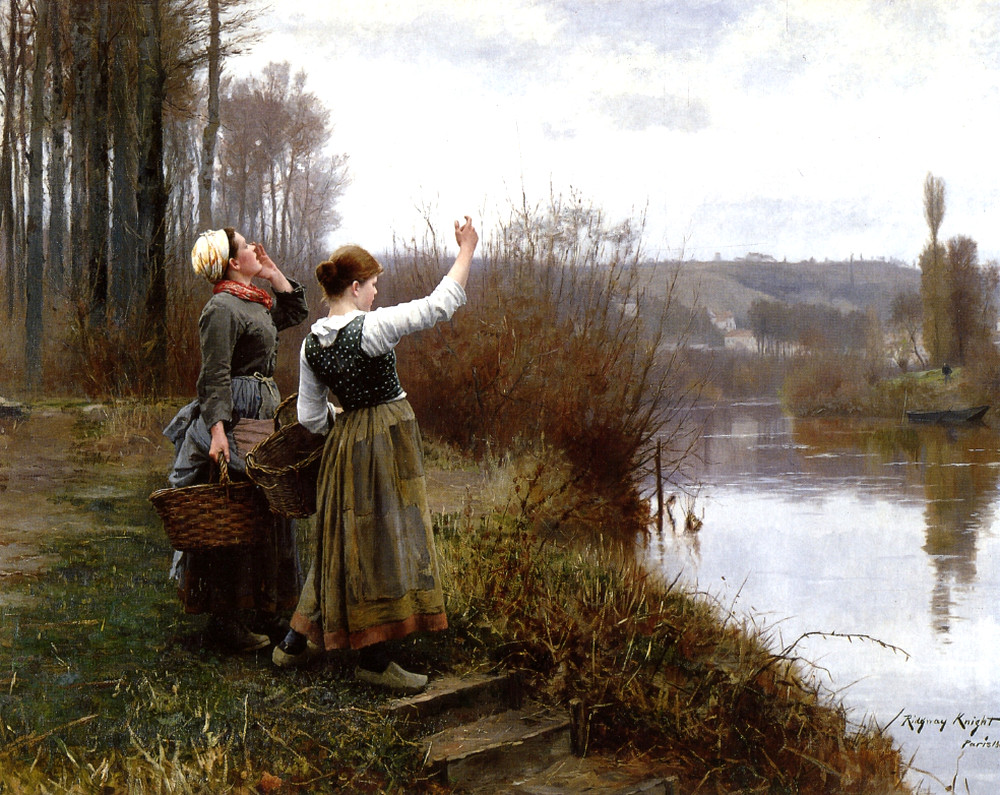 Hailing the Ferry by Daniel Ridgway Knight, 1888