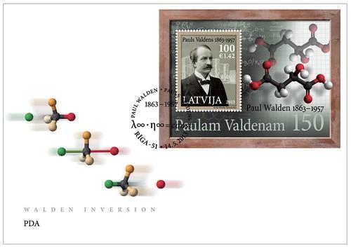 """Pirmās dienas aploksne pastmarku blokam """"Paulam Valdenam - 150"""""""
