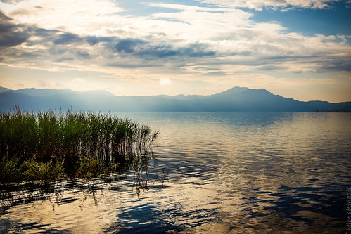 morning blue sky white mountain lake reflection green public water grass yellow clouds canon landscape gold dawn published greece canonef50mmf14usm agrinio canoneos6d ayearofpictures2013