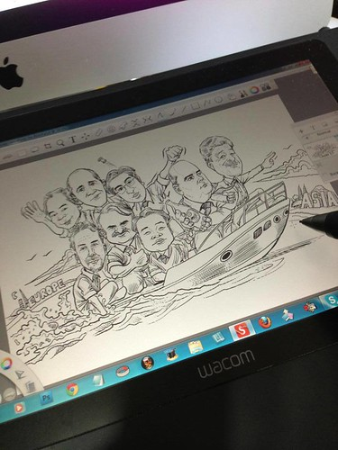 digital group caricatures for Bosch - inking