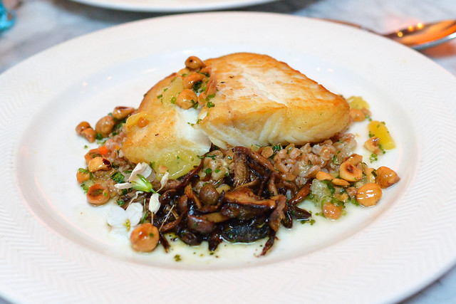 DAY BOAT ALASKAN HALIBUT farro, roasted mushroom, meyer lemon & hazelnut