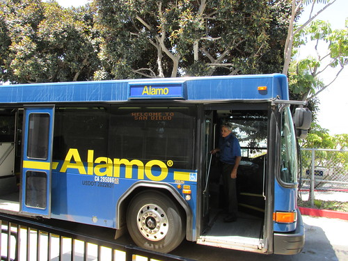 Alamo Car Rental 35 foot Gillig airport transit shuttle bus.  San Diego California.  June 2013. by Eddie from Chicago
