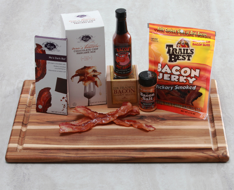 Bacon chocolate.  Bacon hot sauce.  Bacon jerky.  Bacon salt.  Bacon chocolate pancake mix.  Bacon brittle.