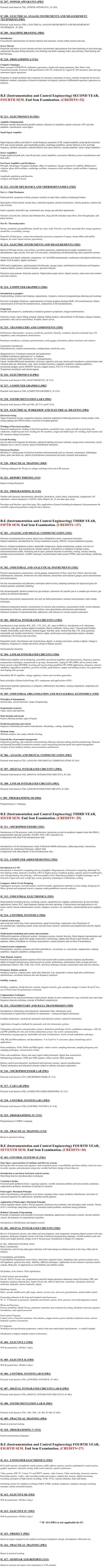 NSIT: Syllabus - Instrumentation and Control Engineering