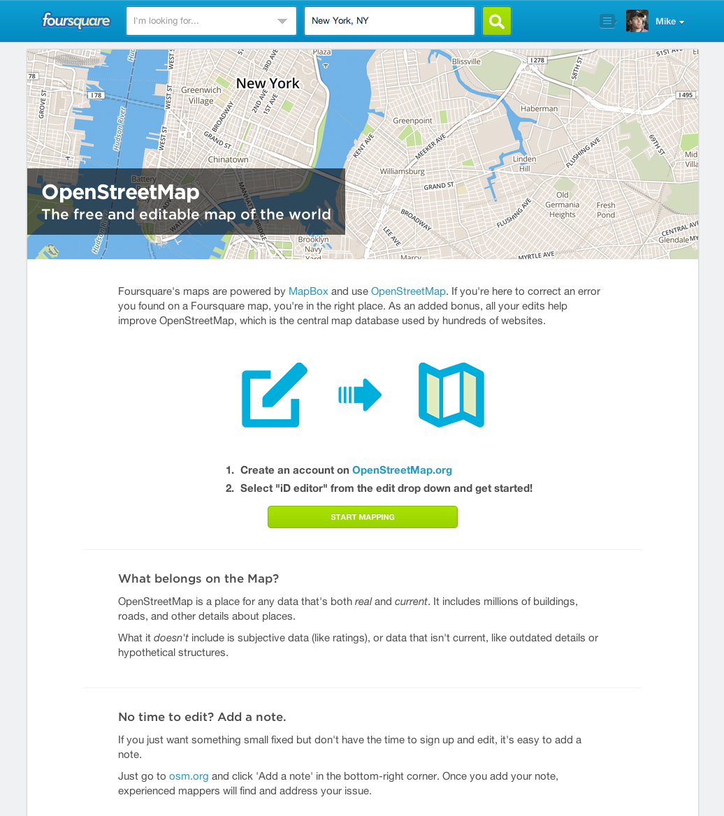 Foursquare's OpenStreetMap introduction page