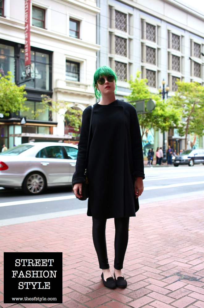 green hair, black robe, black tunic, marc jacobs bag, studded heel flats, thesfstyle, sfstyle, street fashion style, san francisco fashion blog,