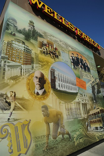 University District wall historical wall mural, Wells Fargo Bank, U District, Seattle, Washington, USA by Wonderlane