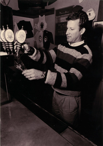 Deschutes Brewery founder and owner Gary Fish pours a craft brew from the original taps at the Bend Public House in the late 1980s.  (Photo used with permission)