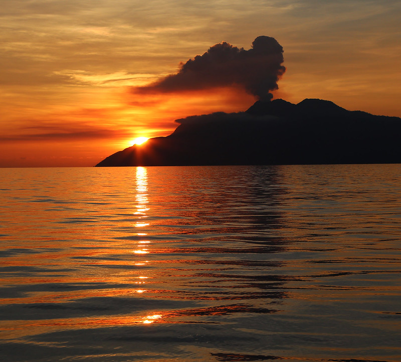 Volcano and sunset