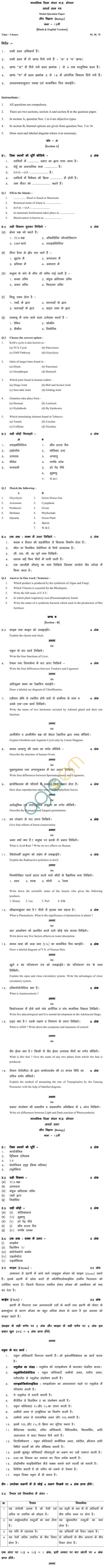 MP Board Class XII Biology Model Questions & Answers – Set 1