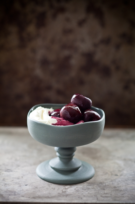 Red Wine Cherries & Goat Cheese Mousse