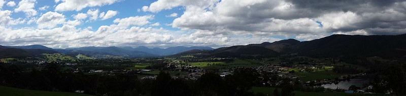 Looking over Huonville towards Mt Wellington