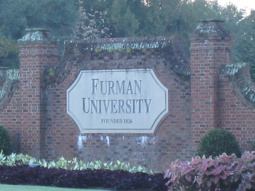 Furman entrance sign