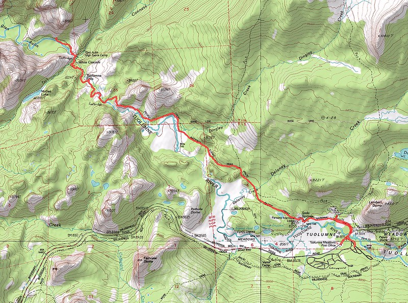 Topographic Map of our tenth and final day's hike - Glen Aulin to Tuolumne Meadows on the Pacific Crest Trail (PCT)