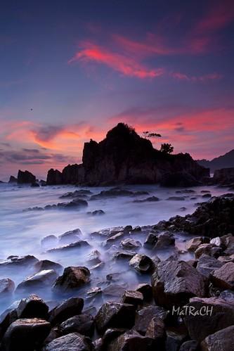 sunset sea rockybeach lampung matrach kelumbayan
