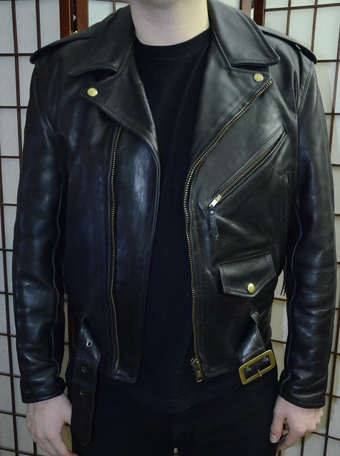 popular stores 50-70%off top-rated original Early Aero Motorcycle Jacket in black FQHH brass fittings ...